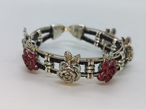 Guitar String Roses Bracelet - Med