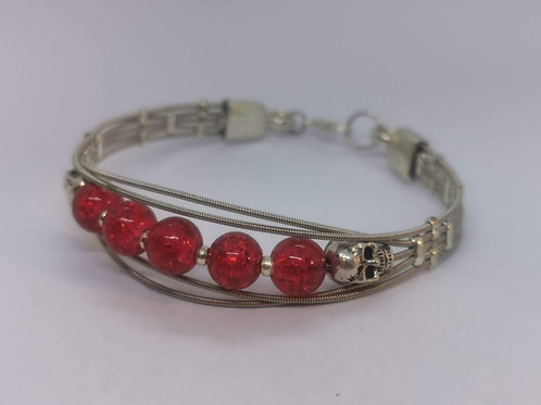 Guitar String Skull Bracelet Red - Medium