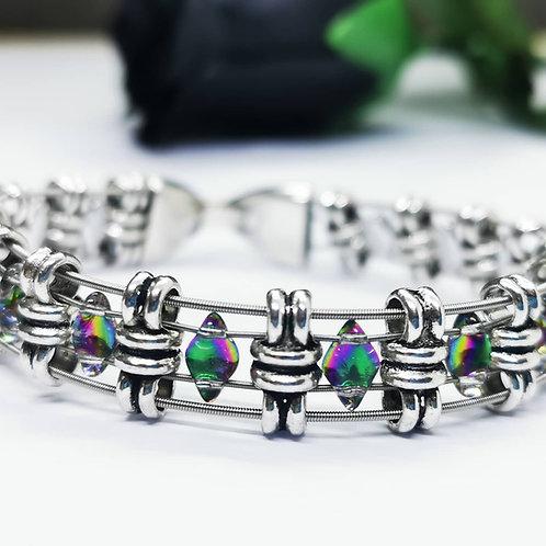 Glass Diamond Guitar String Bracelet