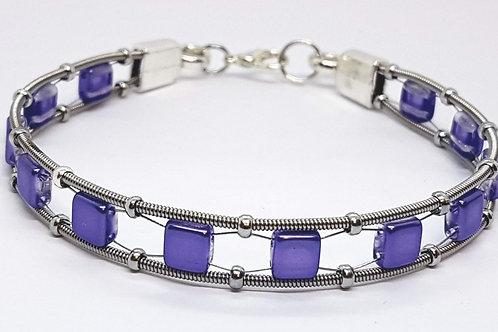 Guitar String Lilac Tile Bracelet - Med