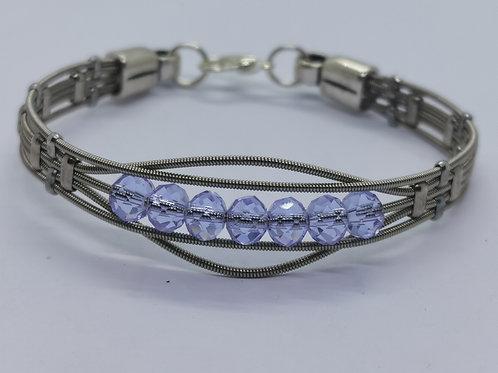 Lilac Crystal Guitar String Bracelet - small