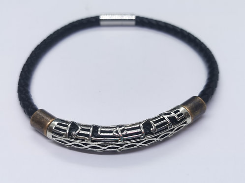 Braided Leather Bracelet with Music Note Bead