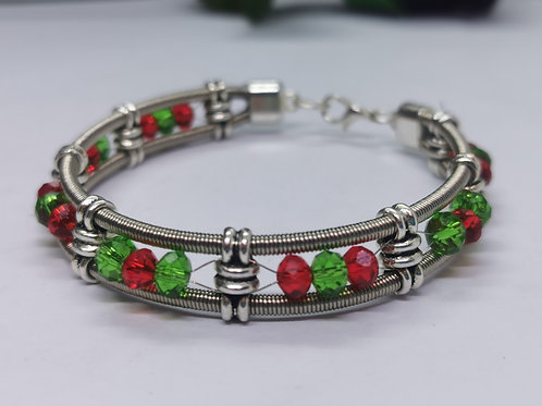 Bass Guitar String Xmas Crystal Bracelet - Medium