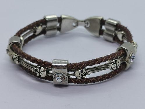 Leather Crystal Guitar String Bracelet - medium