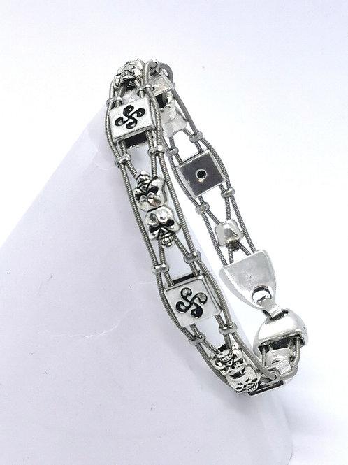Guitar String Double Skull Bracelet