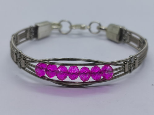 Pink Crystal Guitar String Bracelet - small