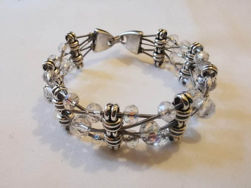 Guitar String Clear Crystal Bracelet - Small