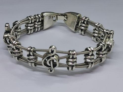 Guitar String Treble Clef  Bracelet - Medium