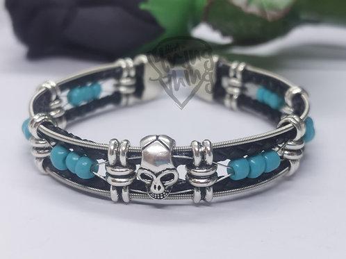 Guitar String Turquoise Skull Bracelet