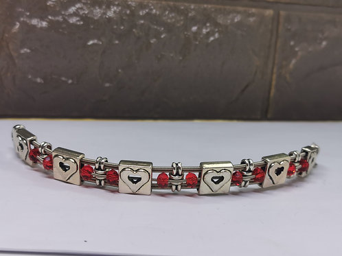Bass Guitar String Crystal Heart Bracelet - Medium