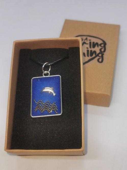 Dolphin Guitar String Resin Pendant - Blue