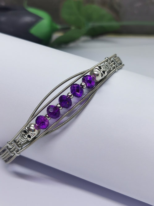 Purple Crystal Skulls Guitar String Bracelet