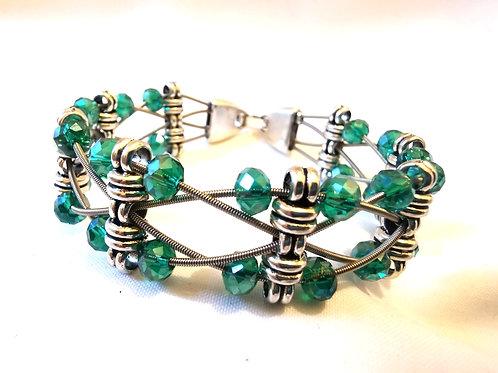 Guitar String Green Crystal Bracelet - Med