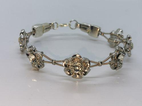 Guitar String Crystal Flower Bracelet - Large
