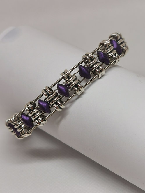 Purple Diamond Guitar String Bracelet