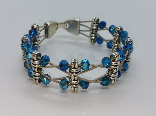 Guitar String Turquoise Crystal Bracelet - Med