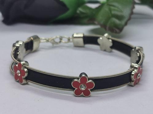 Guitar String Leather Bracelet - Medium