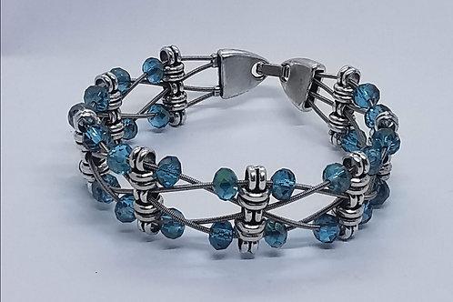Guitar String Blue Green Crystal Bracelet - Med