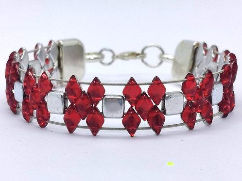 Guitar String Red Diamond Tile Bracelet - Med