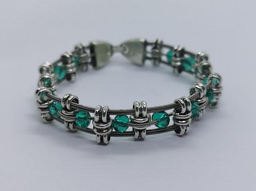 Green Crystal Guitar String Bracelet - medium