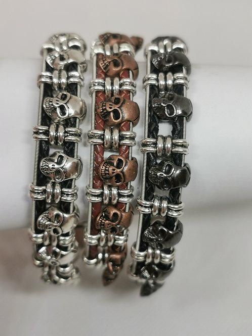 Guitar String Leather Skull Bracelet