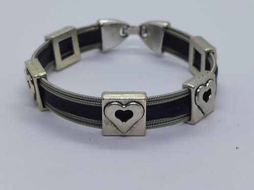 Leather Heart Guitar String Bracelet - small