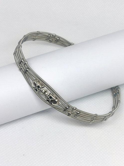Simple Skull Guitar String Bracelet - unisex