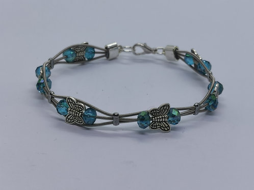 Turquoise Crystal Guitar String Butterfly Bracelet - medium