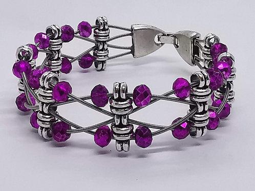 Guitar String Pink Crystal Bracelet - Med