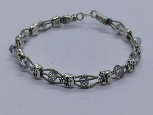 Guitar String Skull & Crystal Bracelet - large