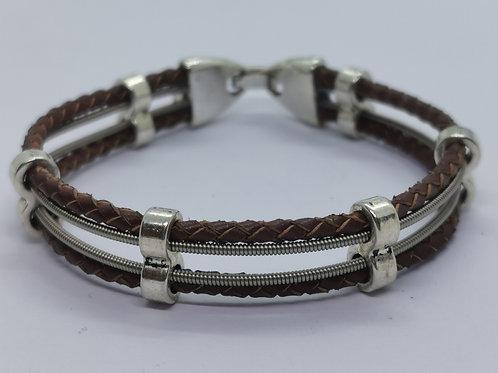 Leather Guitar String Bracelet - medium