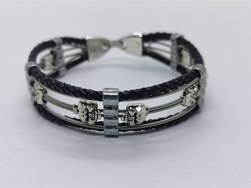 Guitar String Leather Skull Bracelet - Med