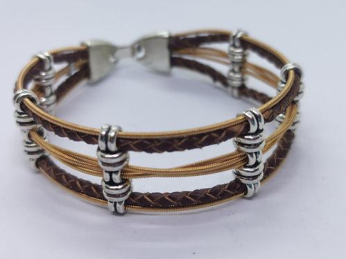 Acoustic Guitar String & Leather Bracelet - medium