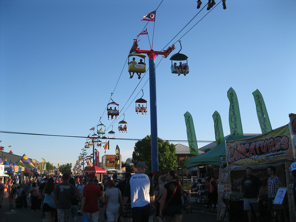 The Ohio State Fair's crowded midway.