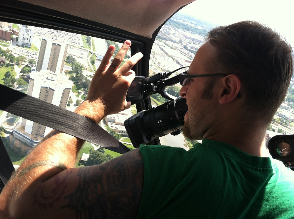 Joe filming high above Columbus.