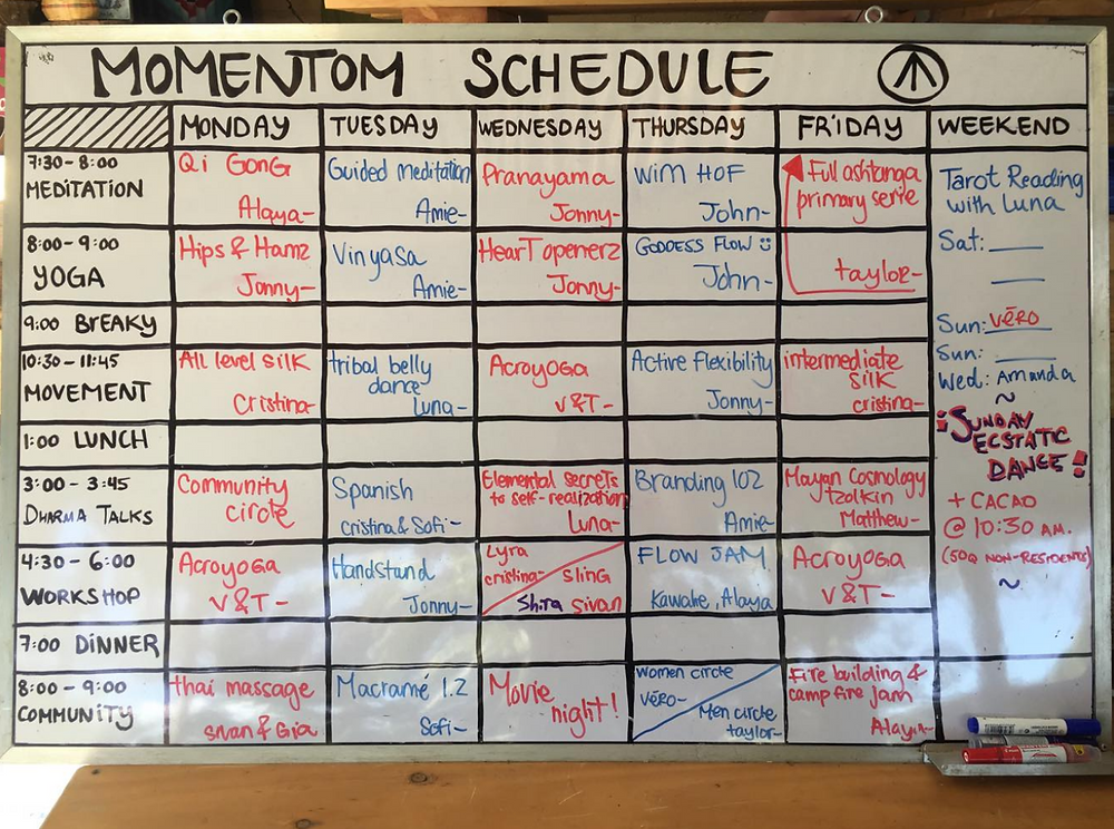 Momentom Collective Workshop schedule for Guatemala Arco Isis Sanctuary - November 2018