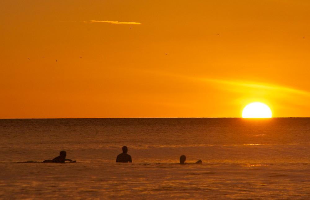 sunset surf paradise in playa escameca nicaragua