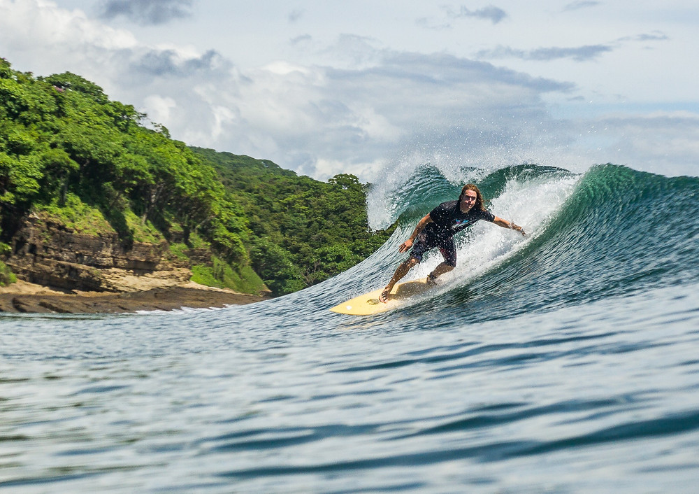 John Early surfing at Playa Yankee, Nicaragua - Photo by Brent Woods - San Juan del sur surf photo playa escameca casa horizon