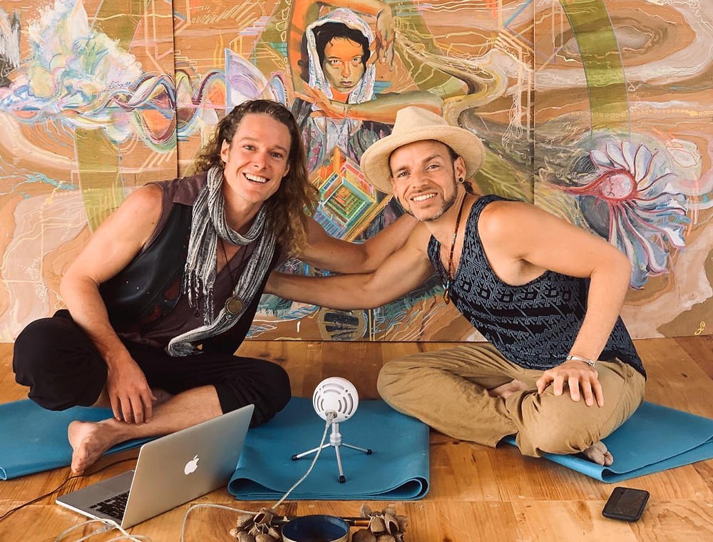 Porangui and John Early during their Podcast at Momentom Collective Artist Residency in San Marcos Guatemala