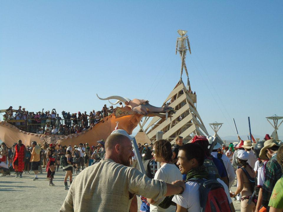 The Man at Black Rock City 2011, Burning Man Dragon Art Car (Photo by John Early)