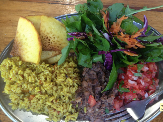 Costa Rican Jungle Gourmet lunch: breadfruit chips, turmeric curry risotto pico de gallo at Punta Mona