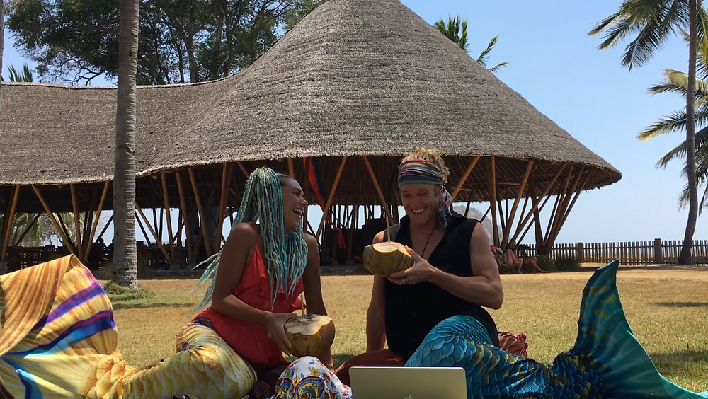 Hannah Mermaid and John Early - Momentom Collective Podcast at Whales and Waves Sumbawa Indonesia - Merman!