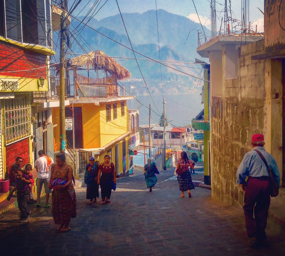 San Pedro de Laguna, Lake Atitlan, Guatemala local street (Photo by John Early)