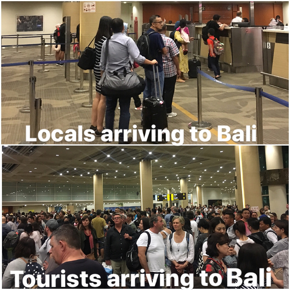 locals versus tourists in Bali Indonesia airport