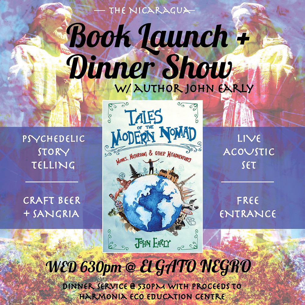 Nicaragua Book Launch - Tales of the Modern Nomad - John Early at El Gato Negro Coffeehouse Cafe San Juan del Sur