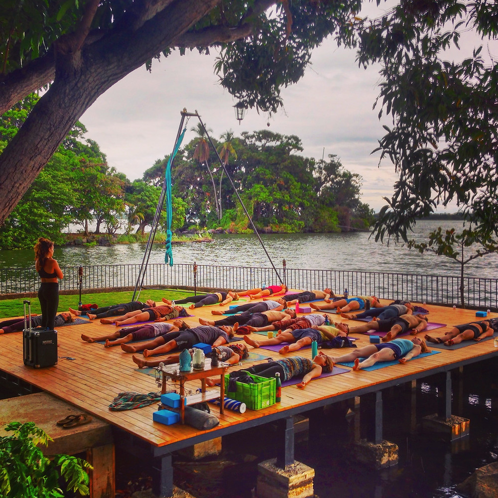 The opening day yoga class led by Gabrielle Bonneville.Circus Island Momentom Collective Nicaragua (Photo By John Early)