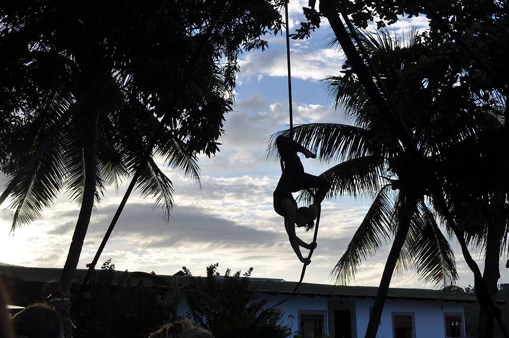 momentom collective circus island photo aerial lyra hoop cord de lis  tropical new age circus photo by Mirin Mooney