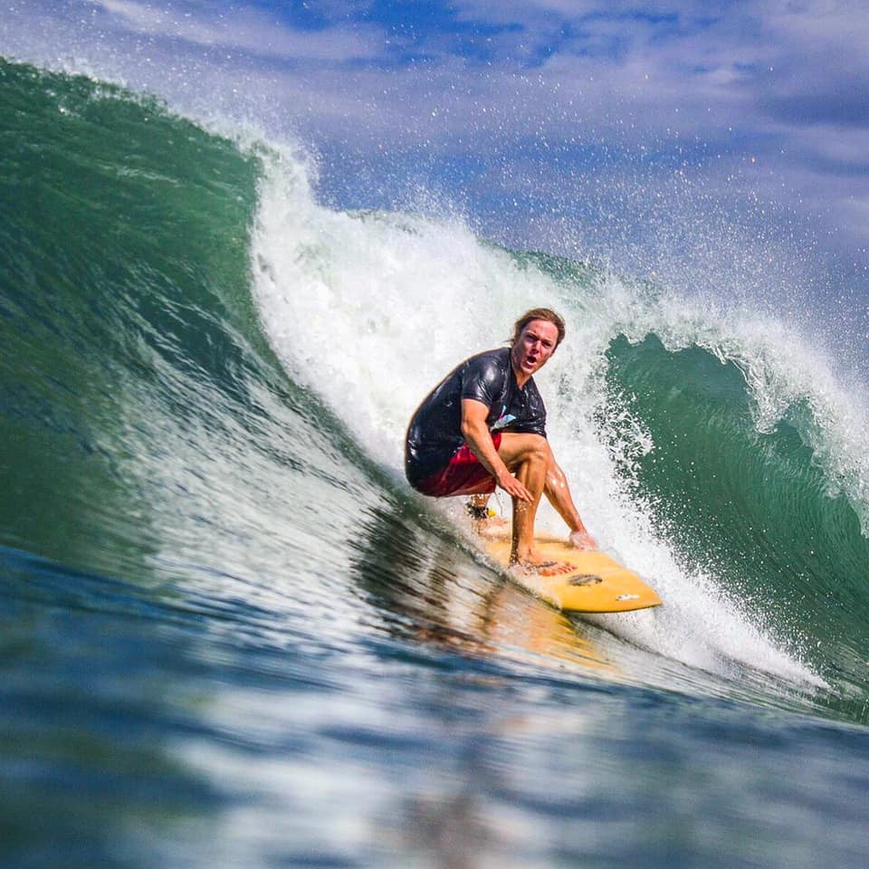John Early surfing at Casa Horizon, Playa Escameca, Nicaragua photo by Brent Woods
