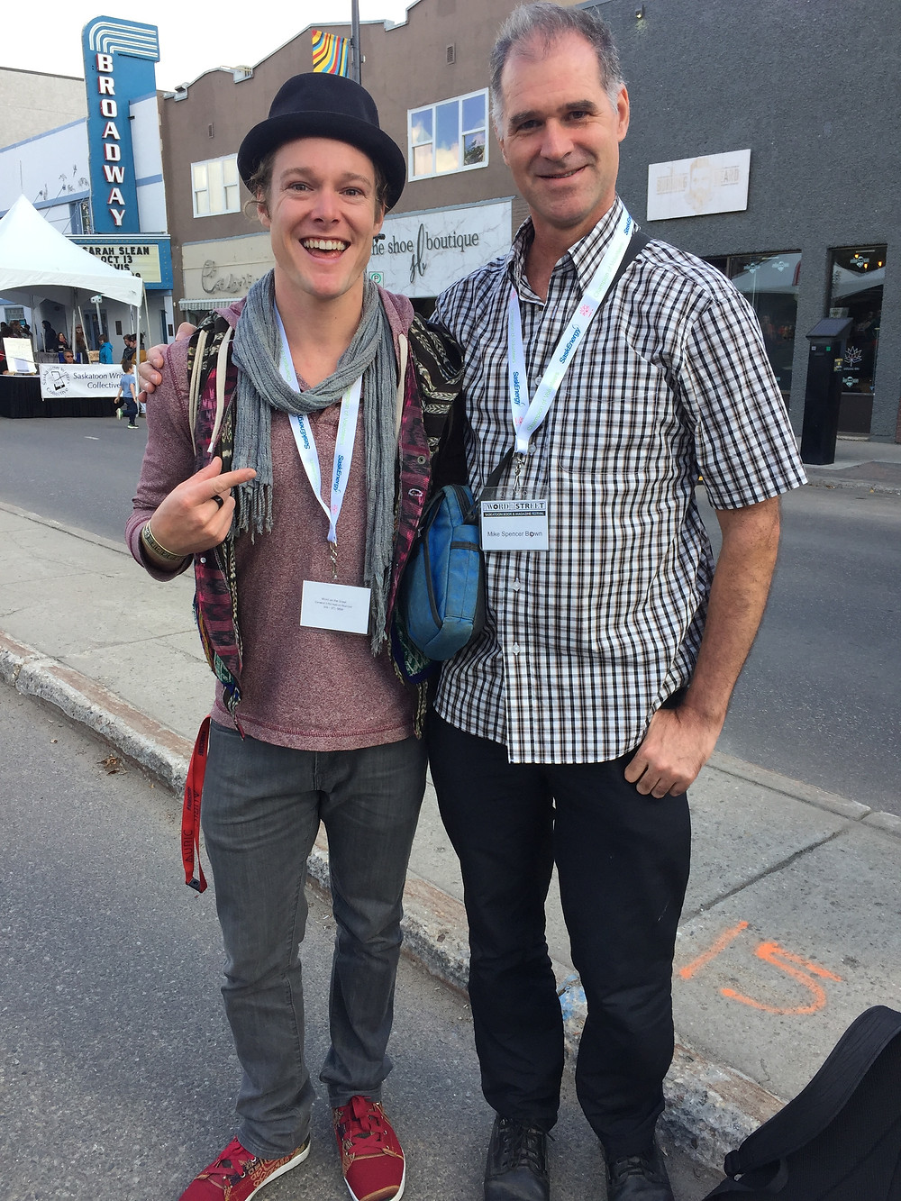 Author John Early with Mike Spencer Bown, the World's Most Traveled Man at Word on the Street Festival, on Broadway Saskatoon October 2017