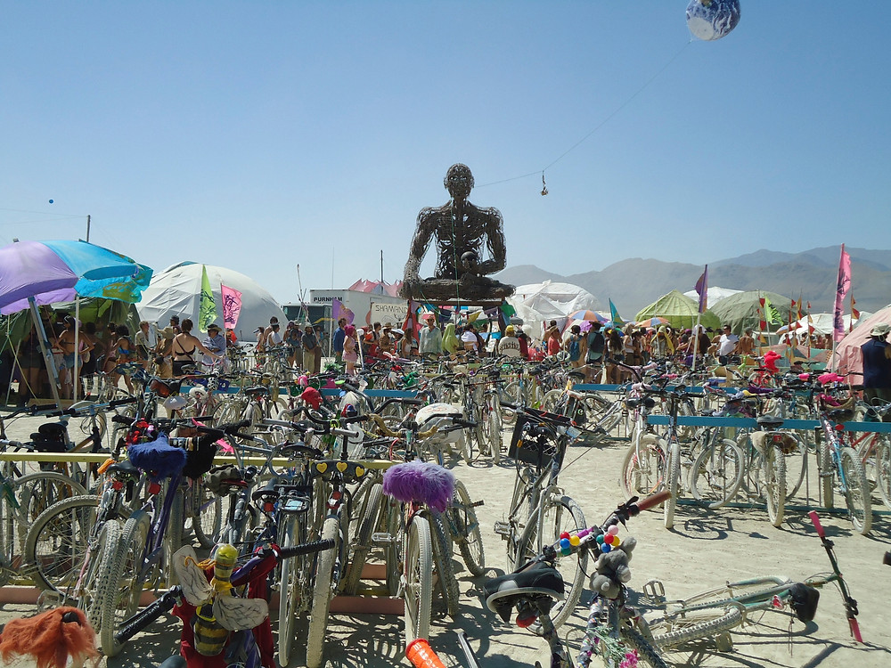 Heebeegeebee Healers Camp at Burning Man 2011, Black Rock City bicycles (Photo by John Early)